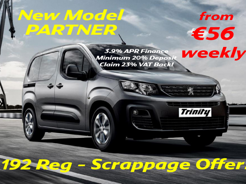 2019 Peugeot Partner FROM €56 PER WEEK! SCRAPPAGE 192 = NEW 3 SEAT LAUNCH MODEL Price €POA